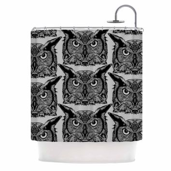 "BarmalisiRTB ""The Owl"" Yellow Green Animals Animal Print Digital Illustration Shower Curtain"
