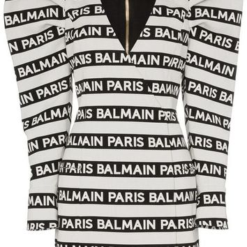 Balmain Structured Shoulder logo-striped mini-dress - Farfetch