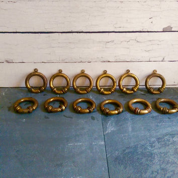 Vintage French Brass Curtain Rings/ Brass Rings/ Drapery Rings/ Salvaged Drapery Hardware/ Curtain Ring Set/ French Country Cottage