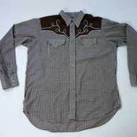 Men's gingham western shirt, pearl snap buttons yoked swirl embroidery, Ely Plains, XXL