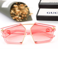 GUCCI New fashion sunglasses big box pink polygon glasses