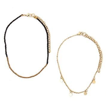 With Love From CA Seabead Coin Choker Necklace Set - Womens Jewelry - Gold - One