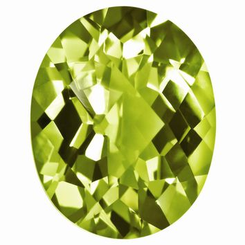 Loose Peridot Gemstone  9x7mm Oval Checkerboard AA Quality