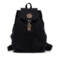 Retro Canvas Drawstring Shoulder Bag Casual College School Daypack Travel Backpack Rucksack Knapsack ( Black ):Amazon:Shoes