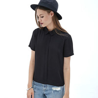 Black Split Collar Back Button Short Sleeve Chiffon Top