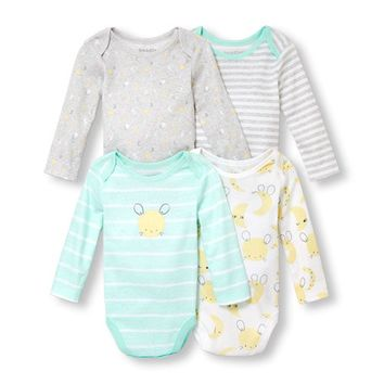 Unisex Baby Long Sleeve Mouse And Moon Bodysuit 4-Pack