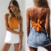 Sexy Solid Color Sling Vest Backless T-Shirt
