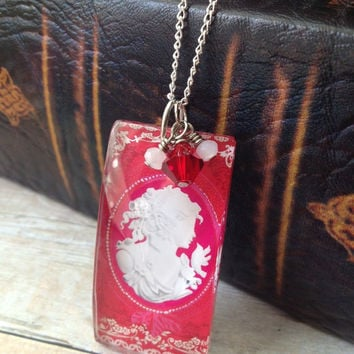 Pink and Red Lili Cameo Glass Pendant Necklace, Red and White Crystal Accents