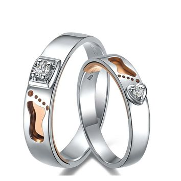 Diamond Wedding Couple Ring Set 18K Footprint Two-Tone Gold 0.09ct/pair Natural Diamond Handmade Engagement Jewelry DHL Ship