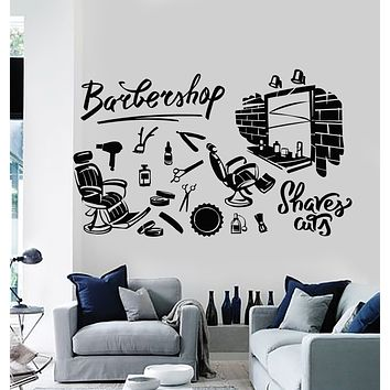 Vinyl Wall Decal Haircut Shaves Haircut Professional Barbershop Stickers Mural (g1859)