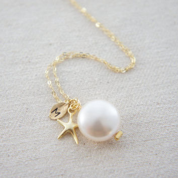 Personalized gold starfish and coin pearl necklace, wedding, bridesmaids, mother of bride, gift