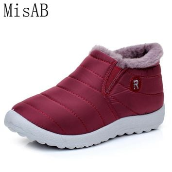 Women Winter Shoes Fashion Solid Color Snow Boots Fur Inside Antiskid Bottom Keep Warm Waterproof Ski Soft Leather Ankle Boots