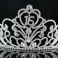 Janefashions Sweet Sixteen 16 Birthday Party Rhinestone Tiara Crown w/ Hair Combs T1863 Silver