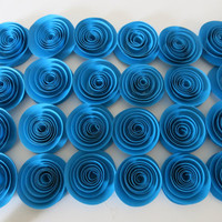 "25 blue rosettes, bright 1.5"" paper flowers projects, wedding, decorations Large lot wedding table scatter, baby shower decor, bridal party"