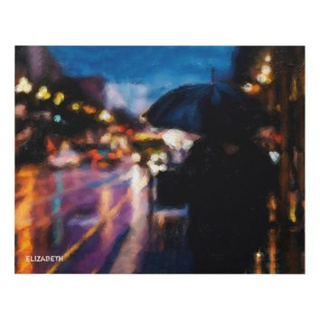 Lady With Umbrella In Rainy Night Moody Drawing Panel Wall Art