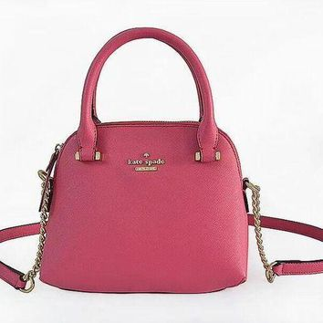 Kate Spade Trending Women Metal Logo Leather Tote Handbag Shoulder Bag Crossbag Red I