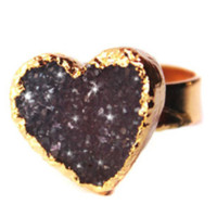 Heart Druzy Gemstone Gold Ring