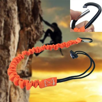 Retractable Elastic Rope Lanyards Safety RopeOutdoorSingle Carabiner Tools Buckle for Climbing Anti-lost Keychain