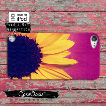 Sunflower Flower Yellow Cute Purple Ombre Cool Tumblr Case iPod Touch 4th Generation or iPod Touch 5th Generation Rubber or Plastic Case