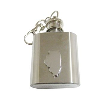 Illinois State Map Shape 1 Oz. Stainless Steel Key Chain Flask