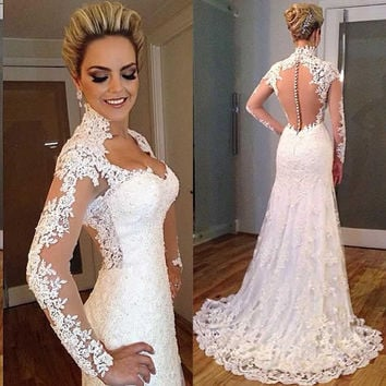 Elegant White Lace Floor Length Prom Dresses