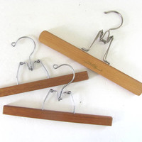 3 Vintage Wood // Wooden Clamp Skirt or Pants Hangers .. Instant Collection