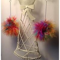 Marabou Feather Pom Pom Earring/Feather Earrings/Marabou Fluff/Multicolor OR Pastel/Candy Floss