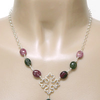 Silver Gothic Cross Necklace Tourmaline Bead Handmade