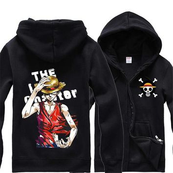 One Piece Cosplay Monkey D. Luffy zip up hooded cardigan casual jacket and animation
