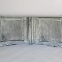 """Grey Wood Panel Pillow, Trompe L'oeil, Faux Bois, Greyscale Black and White, Gothic Style, 12 x 26"""" Cotton, Oblong Lumbar Rectangle"""