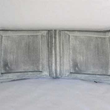 "Grey Wood Panel Pillow, Trompe L'oeil, Faux Bois, Greyscale Black and White, Gothic Style, 12 x 26"" Cotton, Oblong Lumbar Rectangle"