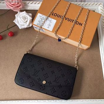 Louis Vuitton LV Monogram Leather Pochette Felicie Inclined Shoulder Bag