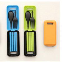 Portable Folding Travel Dinnerware Set Korean Cutlery Fork Chopsticks Set For Kids