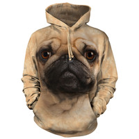 The Mountain Men's  Pug Face Hooded Sweatshirt