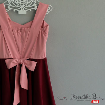 SALE - Pink Nude top Maroon skirt Party Dress Tea Dress Summer Sundress Small