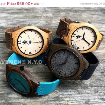 SALE Mens Wood Watches. Montre Bois, Montre En Bois Gravé. Wood Watch. Kavemen. Combo