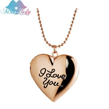 Miss Lady I love You Words Floating Open Locket Pendant Necklace Gold/Sliver color  Photo Jewelry Necklaces & Pendants MLY53N