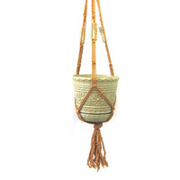 Vintage long macrame Plant Hanger with clay beads