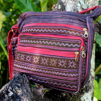 Purple Ethnic Hmong Embroidered Cross Body Messenger Bag Tote