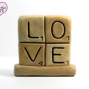 Scrabble Inspired Wedding Cake Topper - LOVE - Original Handmade Sculpture by The Republic of Cute