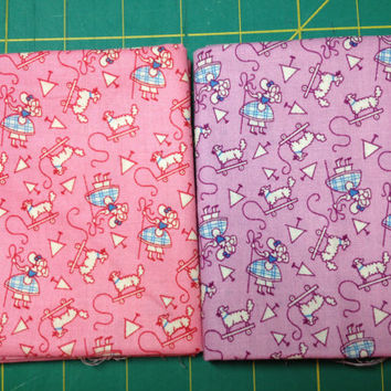 30's Fat Quarter Duet Pink and Purple with Little Bo Peep