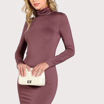 Ladies Turtle neck bodycon dress