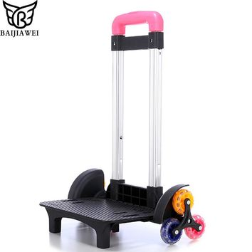 BAIJIAWEI Aluminum Luggage Trolley For Backpack Removable Folding Rod Six-wheel Climb Staircase Trolley Frame For School Bag