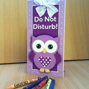 purple owl door sign doorknob hanger - office or school double sided plaque -do not disturb / out of office - PL352 cute christmas gift