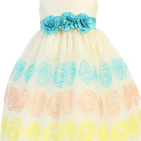 Ivory Organza Overlay w Embroidered Swirls Easter Spring Dress (Baby 6 Months - Girls Size 10)