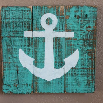 White Anchor on Turquoise Distressed Stained Wood
