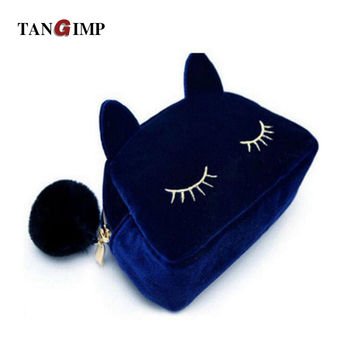 TANGIMP 2017 Cute Cat Flannel Women Makeup Organizer Bags High Quality Clutches Travel Toiletry Cosmetic Storage Bags 6 Colors