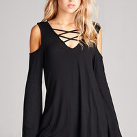 Black Cold Shoulder with Criss Cross Neck Top