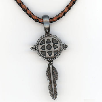 Feather and Earth Symbolic Pendant with Woven Leather by Lehane