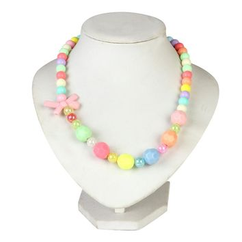 Lovely Girl's Jewelry Bubblegum Colorful Beads Necklace Plastic Bow Tie & Heart Beaded Necklace For performance party